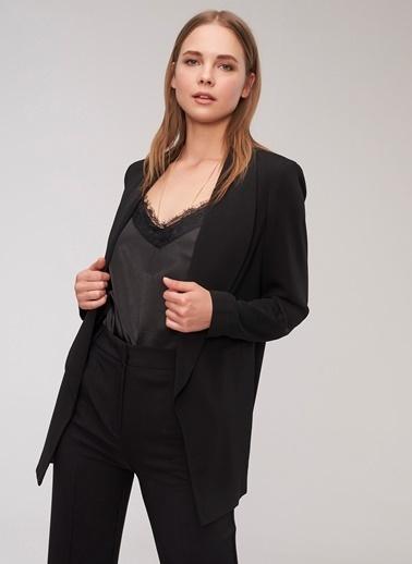 People By Fabrika Şal Yaka Oversize Ceket Siyah